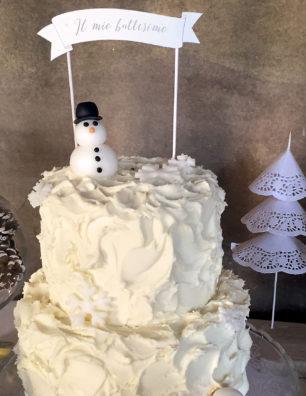 Battesimo tema natalizio torta pupazzo di neve