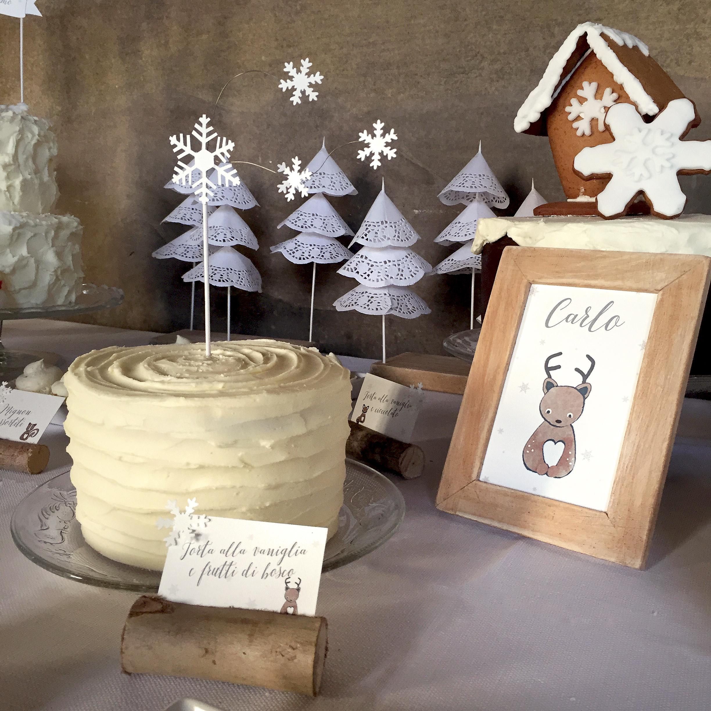 Battesimo tema natalizio torta bianca come la neve