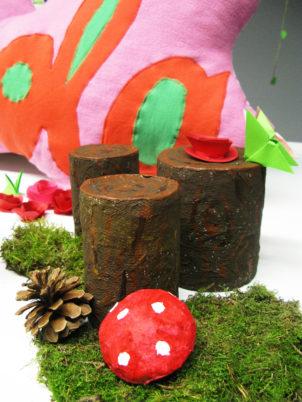 festa tema bosco incantato tronchi