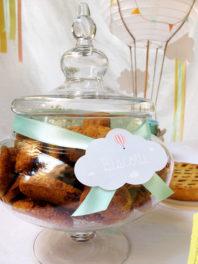 Battesimo tema mongolfiera tag biscotti