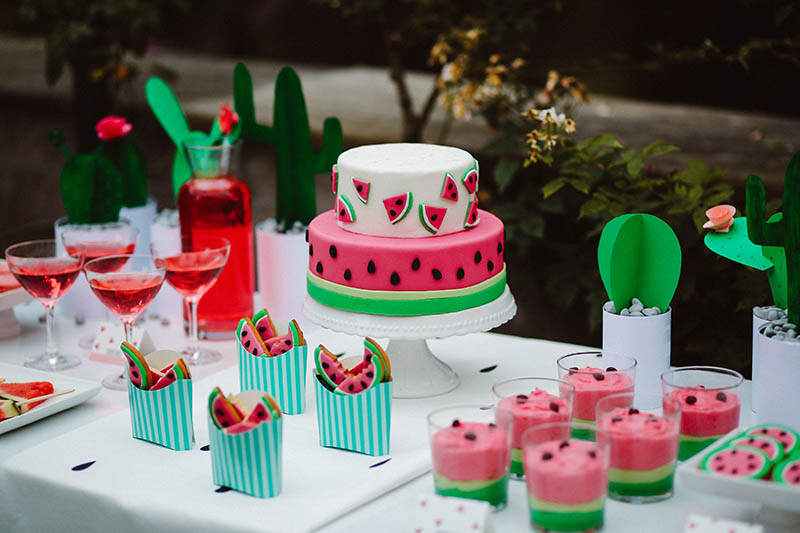 watermelon party festa tema angurie dessert table