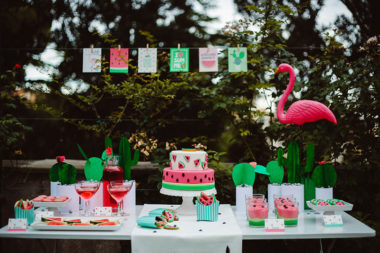 watermelon party festa tema angurie dessert table grafiche