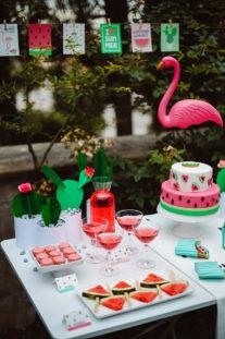 watermelon party festa tema angurie dessert table fenicottero